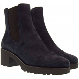Hogan women's heeled chelsea boots with blue suede