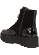 Hogan women's heeled ankle boots in black suede and patent leather