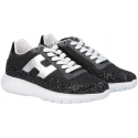 Hogan women's sneakers in black fabric and glitter