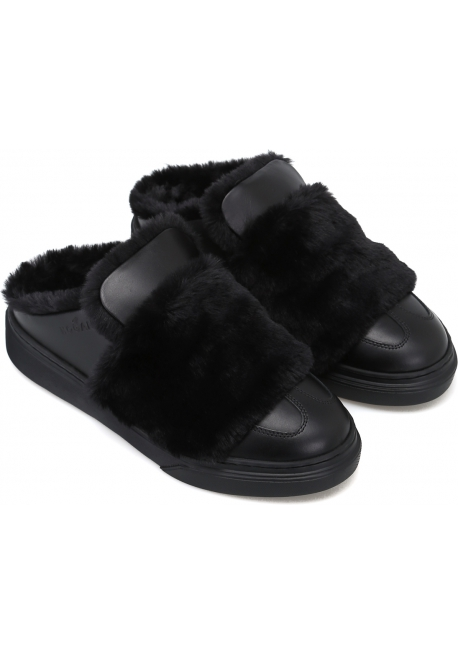 Hogan women's winter slippers in black leather and fur