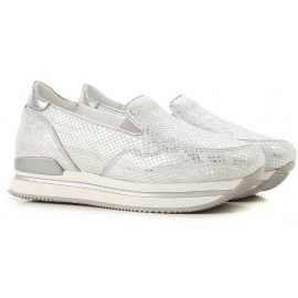 Women's Hogan wedge slip-on sneakers in silver leather