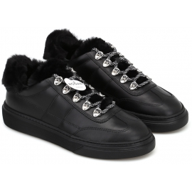 Hogan women's sneakers in black leather and faux fur