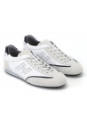Hogan men's perforated sneakers in white leather and suede