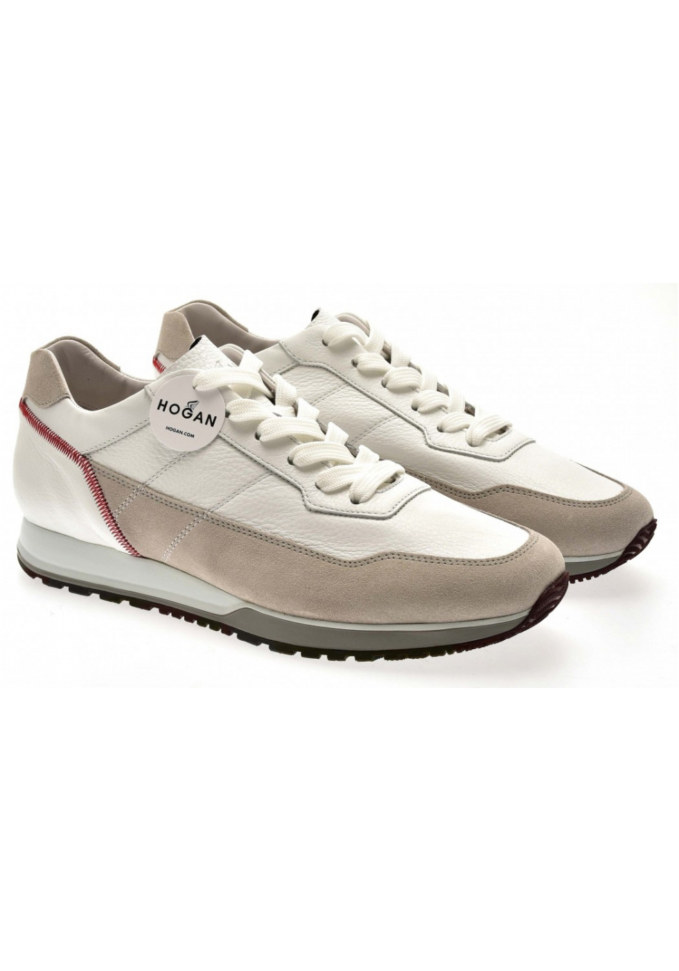 Hogan men's sneakers in white and beige leather and suede ...