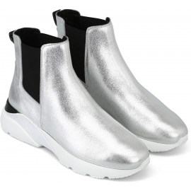 Hogan women's chelsea ankle boots in silver leather