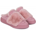 Hogan women's winter slippers in pink leather and fur