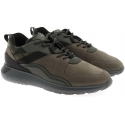 Hogan men's sneakers in nubuck leather and military fabric