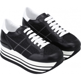 Hogan women's wedge sneakers in black leather and fabric