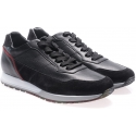 Hogan men's sneakers in black leather and suede