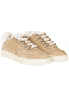 Hogan women's padded sneakers in beige nubuck and faux fur