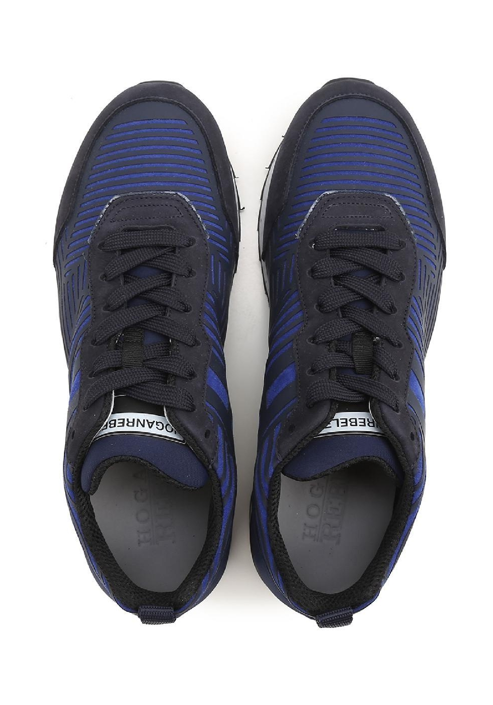 Hogan Rebel men's low top blue fabric/suede sneakers - Italian ...