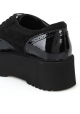 Hogan Women's fashion wedges lace-ups shoes in black patent and suede leather