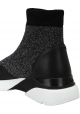 Hogan Women's fashion round toe socks sneakers in black glitter leather and fabric