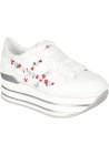 Hogan Women's wedges lace-ups sneakers in white leather with floral embroidery