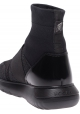 Hogan Women's fashion high sock sneakers in black leather and fabric with glitter