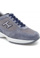 Hogan Men's fashion sneakers shoes in light blue nubuk leather and fabric