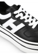 Hogan Women's high wedge sneakers shoes in black leather with white logo