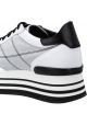 Hogan Women's fashion high wedges sneakers in white leather and fabric with glitter