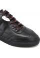 Hogan Men's fashion round toe sneakers in black leather with red laces