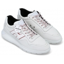Hogan Men's fashion round toe sneakers shoes in white leather and fabric