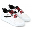 Hogan Men's fashion sneakers shoes in white leather and fabric with black details and red laces