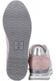 Hogan Women's fashion sneakers in light pink nubuk leather and fabric with internal wedge
