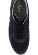 Hogan Men's fashion round toe sneakers shoes in blue leather with logo
