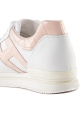 Hogan Women's wedges sneakers shoes in white leather with light pink details and logo