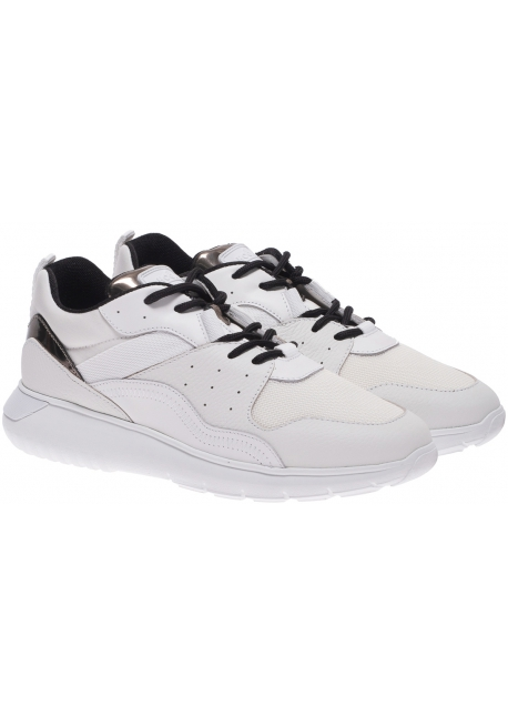 Hogan Men's fashion sneakers shoes in white leather and fabric with silver details