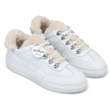 Hogan Women's fashion round toe sneakers shoes in white leather with fur