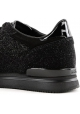 Hogan Women's fashion round toe wedges sneakers shoes in black glitter leather