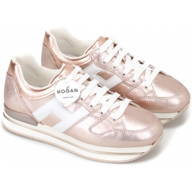 Hogan Women's fashion sneakers shoes in metallic pink laminated leather