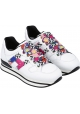 Hogan Women's fashion sneakers shoes in white leather with multicolored laces and logo
