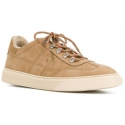 Hogan Men's fahsion low-top sneakers shoes in beige leather with fur inside