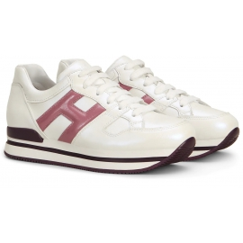 Hogan Women's fashion round toe sneakers shoes in white leather with pink logo