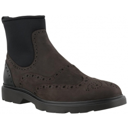 Hogan Men's fashion round toe laceless chukka boots in brown nubuck leather