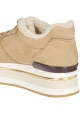 Hogan Women's high wedges sneakers shoes in beige nubuck leather with fur inside