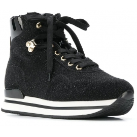 Hogan Women's high top wedges sneakers shoes in black leather with glitter and fur inside