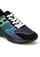 Hogan Women's fashion wedges sneakers shoes in black leather with mulitcolor pattern