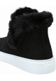 Hogan Women's slip-on laceless wedges ankle boots in black leather with fur inside