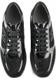 Hogan Women's fashion wedges sneakers shoes in black leather with shiny effect
