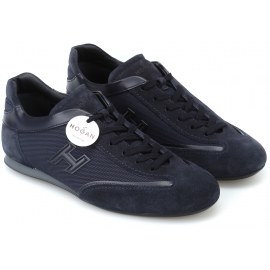 Hogan Men's fashion low top round toe sneakers shoes in blue leather and fabric