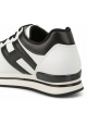 Hogan Women's fashion sneakers shoes in white leather with black logo and details