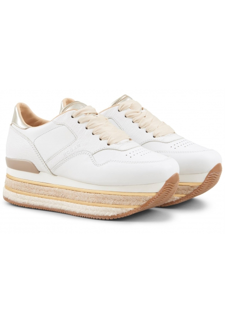 Hogan Women's fashion rope wedges round toe sneakers shoes in white leather