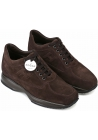 Hogan Men's fashion round toe high sneakers shoes in brown suede leather