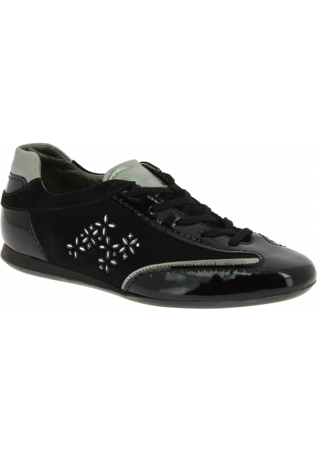 Hogan Women's round toe low top sneakers shoes in black patent and suede leather with strass