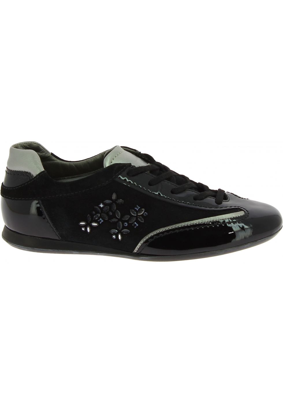 Hogan Women's round toe low top sneakers shoes in black patent and ...