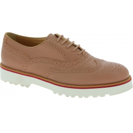 Hogan Women's brogues round toe lace-ups shoes in powder pink leather with white sole