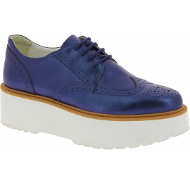 Hogan Women's fashion brogues lace-ups shoes in metal dark blue leather with white wedge