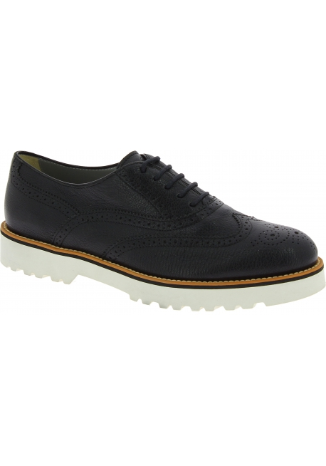 Hogan Women's brogues lace-ups oxfords shoes in black leather with white sole